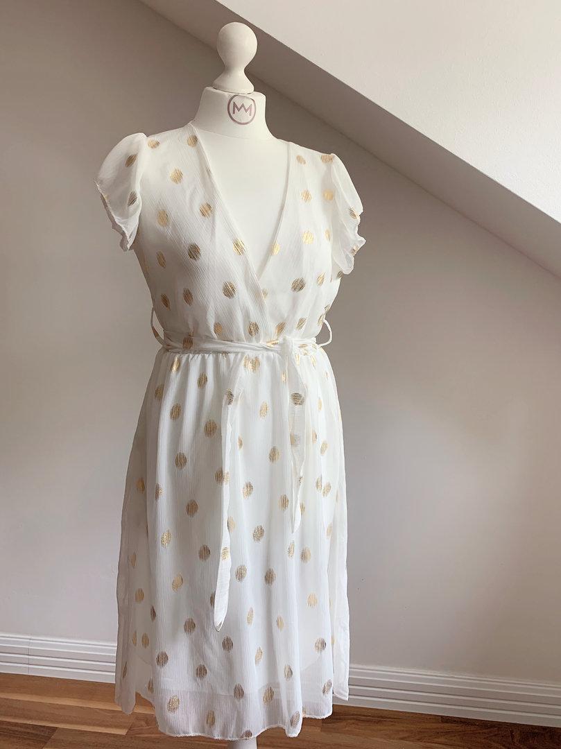 Kleid Farben Weiß Gold