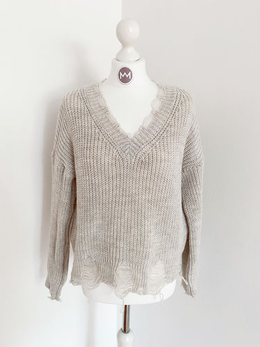 "Pullover ""Destroyed"", beige"