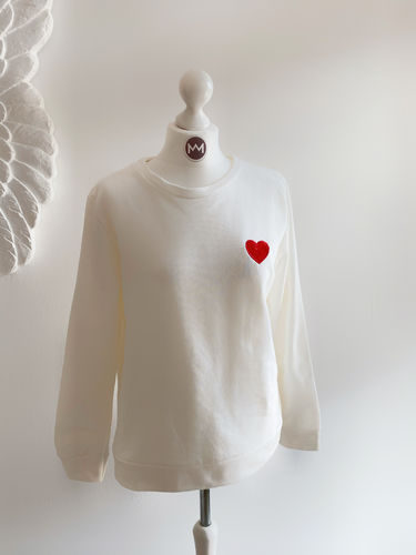 "Sweatshirt ""Heart"", wollweiß"