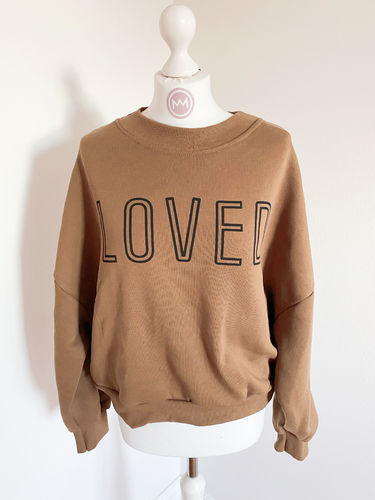 "Sweatshirt ""LOVED"", braun"